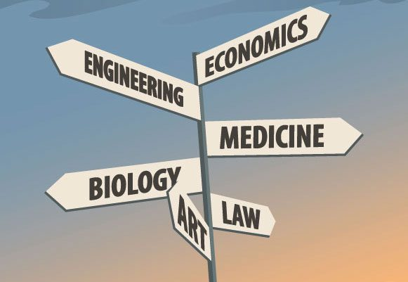 cross road signs with economics, engineering, medicine, biology, law and art