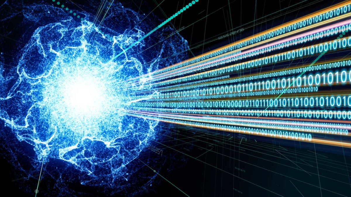 illustration of quantum computing: burst of light with numbers floating out of it