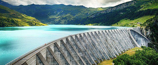 River dam in beautiful grassy scenic area
