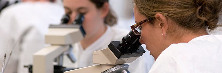 two women look through microscopes